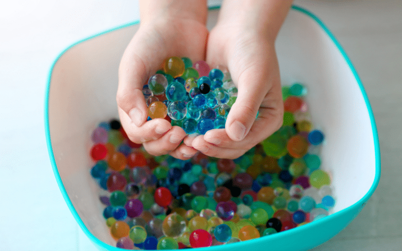 orbeez is a great filler for sensory bins for toddlers